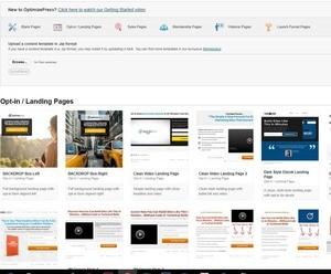 Eine kleine Auswahl an vorgefertigten Seiten in OptimizePress