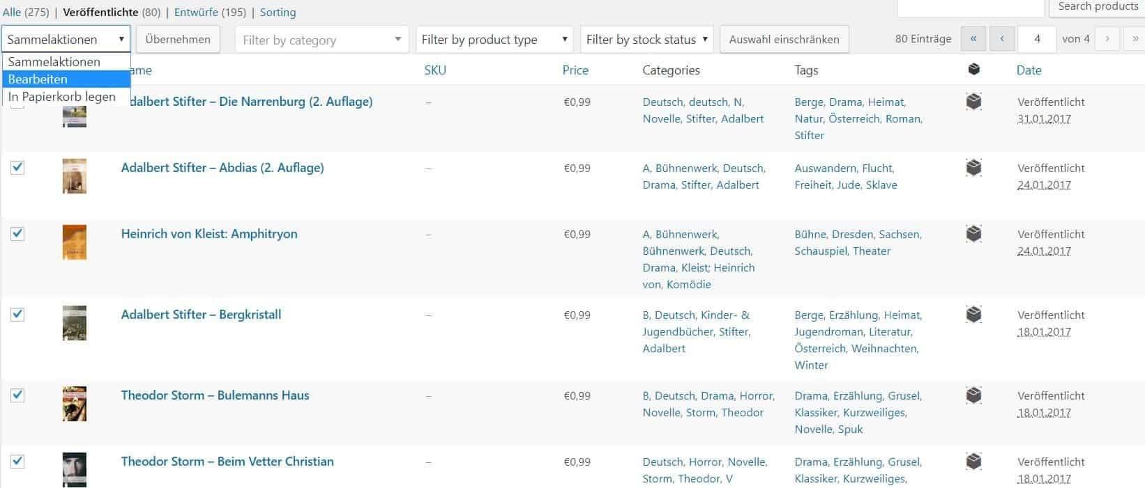 """Massenbearbeitung in WordPress: Markiere die betroffenen Artikel oder Produkte und klicke oben links auf """"Bearbeiten"""""""